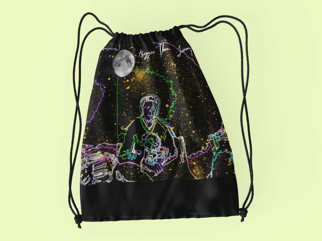 Drawstring-bag-featuring-Bigger-Than-Jimmy-album-cover-designed-by-Kraven-Cache