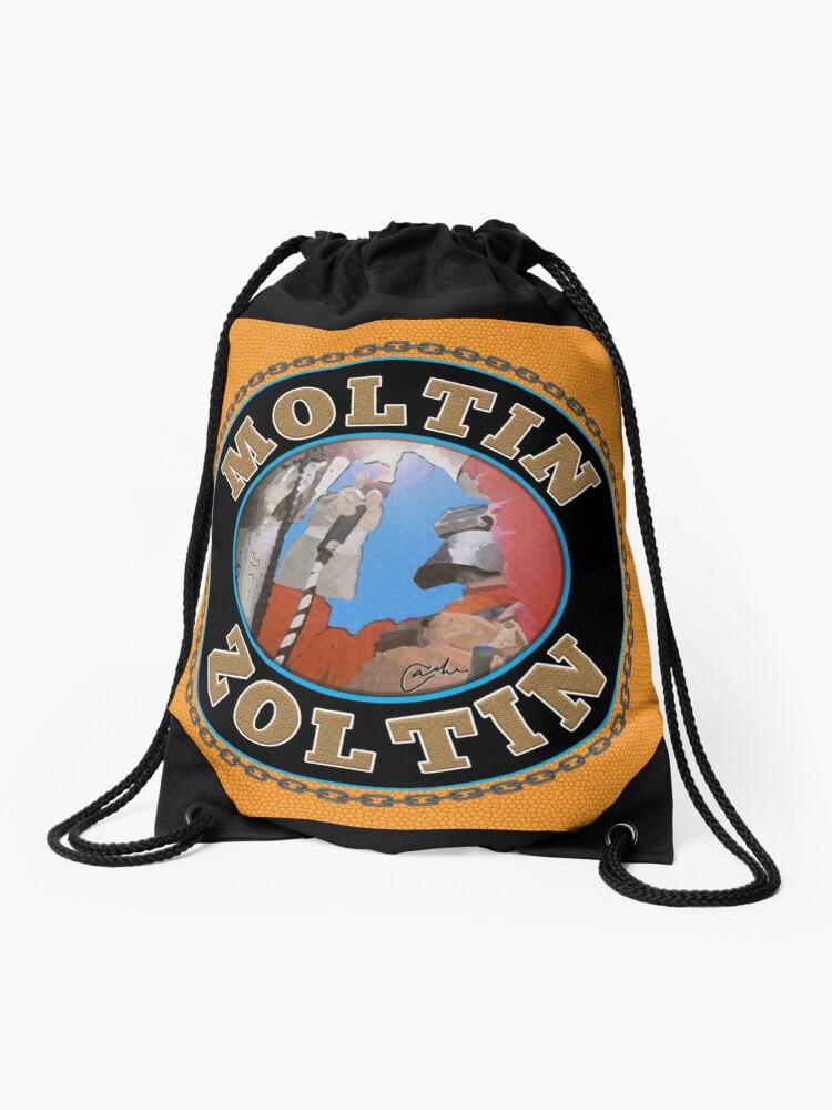 Moltin Zoltin on a draw string bag