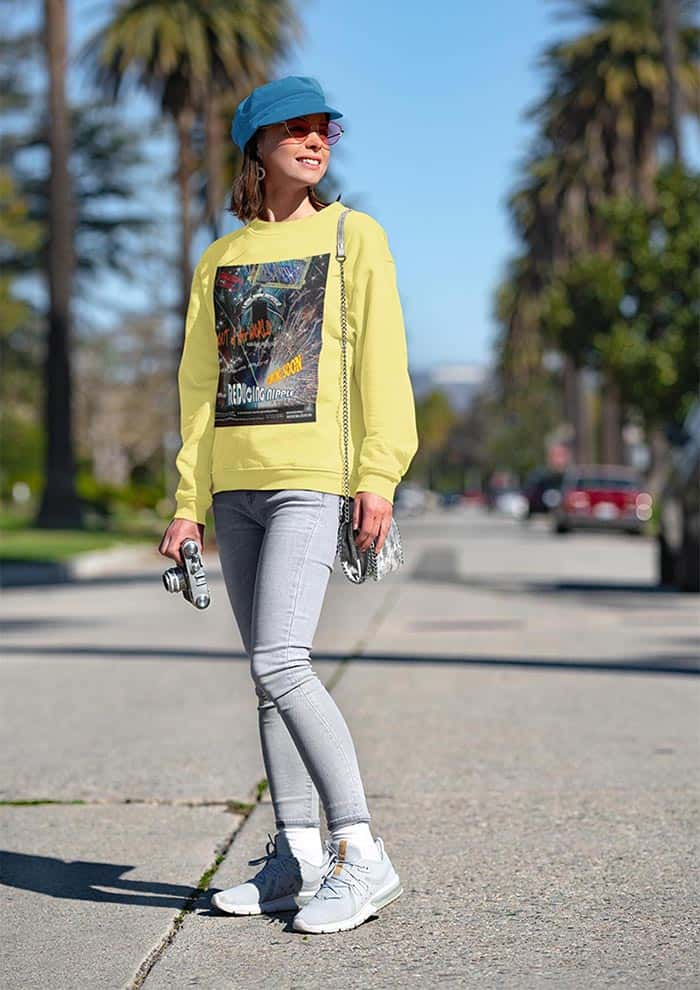 The Reducing Nipple Movie poster on a yellow sweatshirt