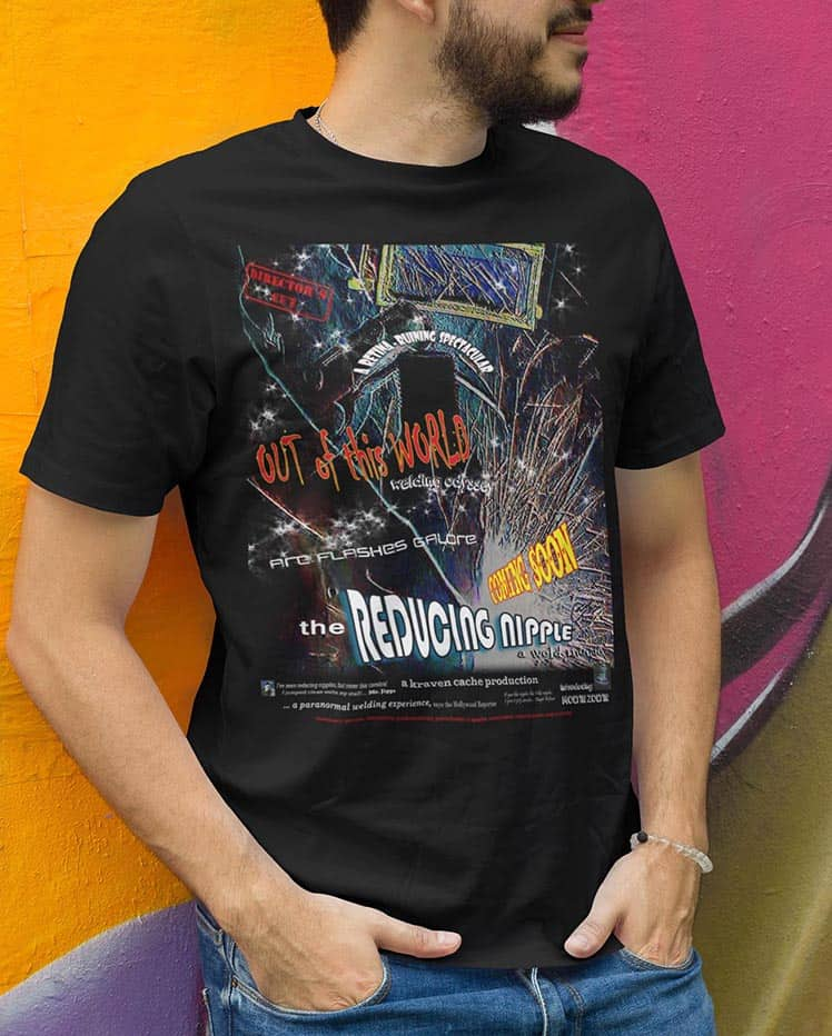The Reducing nipple Movie poster on a black t-shirt