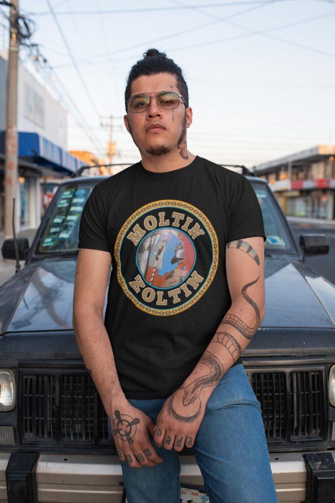 Moltin Zoltin on a black t shirt