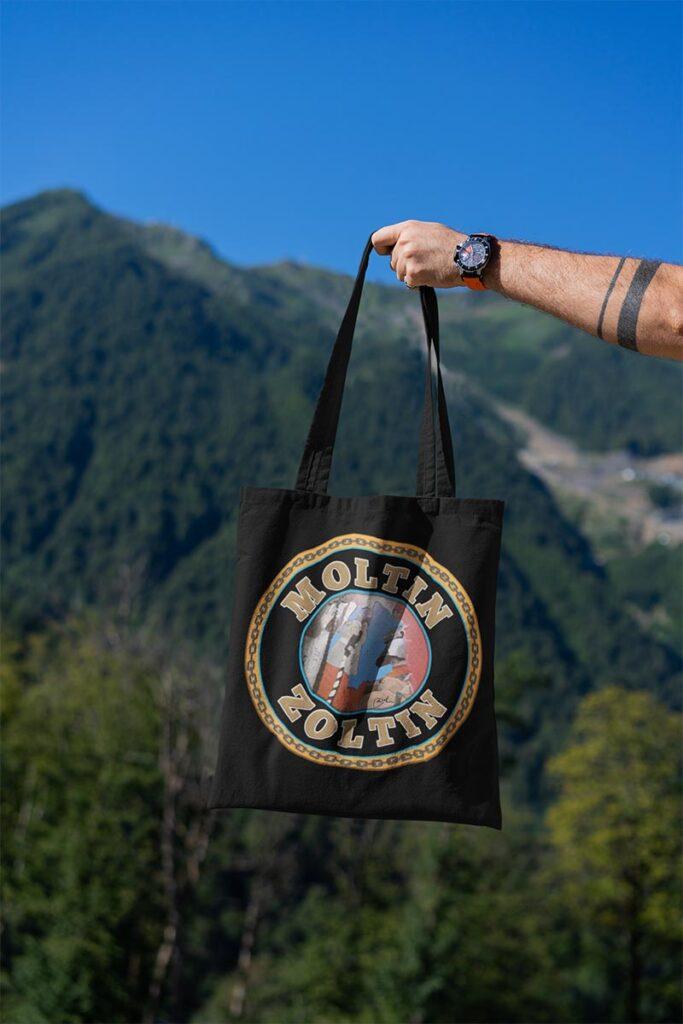 Moltin Zoltin on black bag